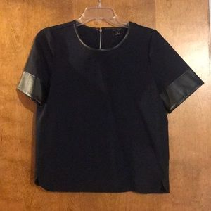 Ann Taylor Top with leather trim and cuffs.